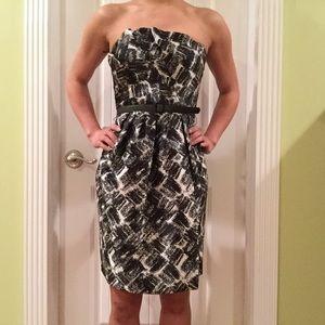 Satin Brushstroke Printed Strapless Dress