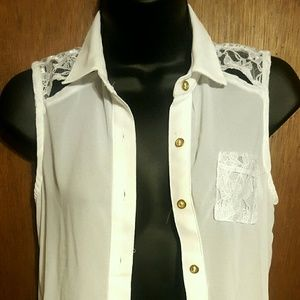 White Lace Button Up Blouse
