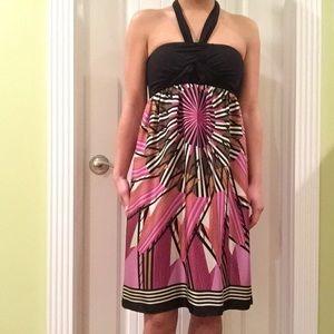 Nicole Miller Geometric/Striped Silk Dress