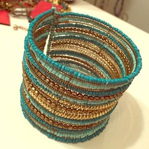 Forever 21 Jewelry - Beaded Cuff in Turquoise and Gold