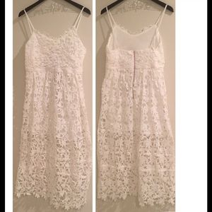 GlamVault Dresses & Skirts - 🆑 White Lace Midi Dress {Host Pick}