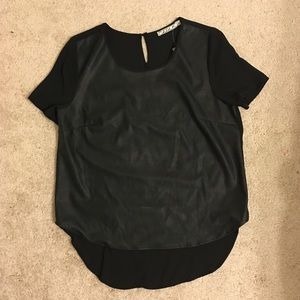 Chloe K Tops - Black Leather and Chiffon Blouse Top