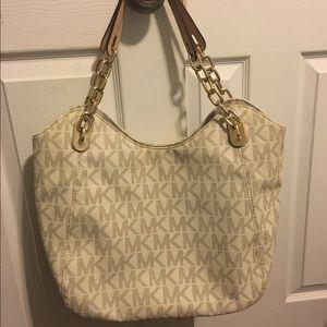 310d46b78d86 Michael Kors Bags - Michael Kors Lilly Vanilla White Logo Chain Tote
