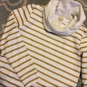 NWT J. Crew White & Gold Striped Sweatshirt