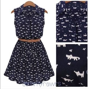 The Emmy Buttoned Cat Print Dress with Belt