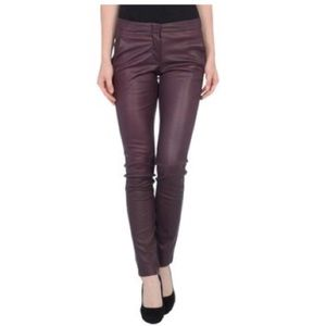 L'AGENCE leather stretch lambskin trouser pant