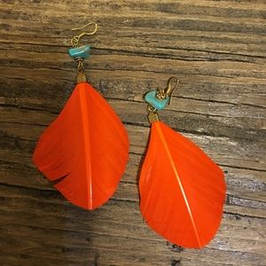 Orange And Turquoise Feather Earrings