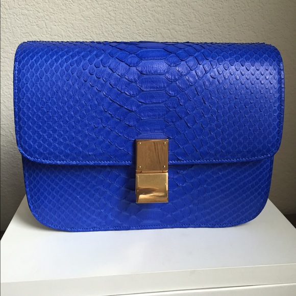 bd49083096f0 Celine Python Medium Box Bag in Indigo
