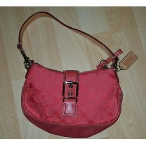 Coach red monogram and suede hobo