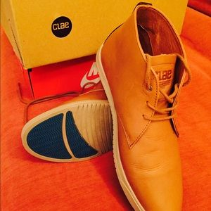 Clae Shoes - Grey Swede,  grey leather, tan leather