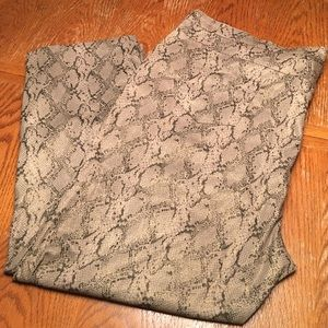 Pants - Tan and gray animal print slacks