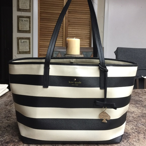 77% off kate spade Handbags - Kate Spade Black & White Striped ...