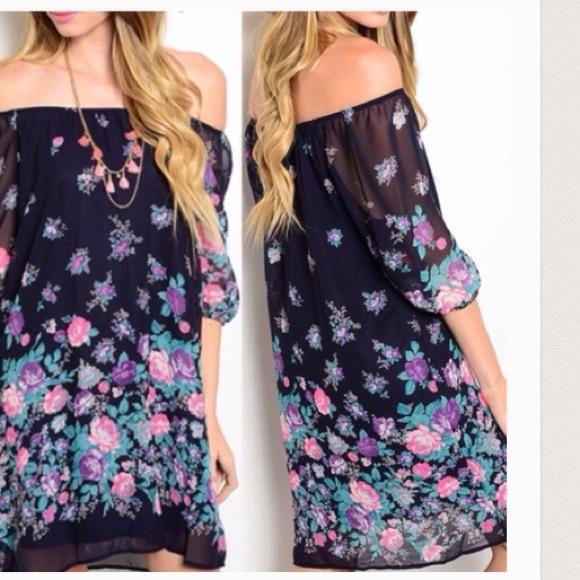 Dresses & Skirts - Off the shoulder floral print dress