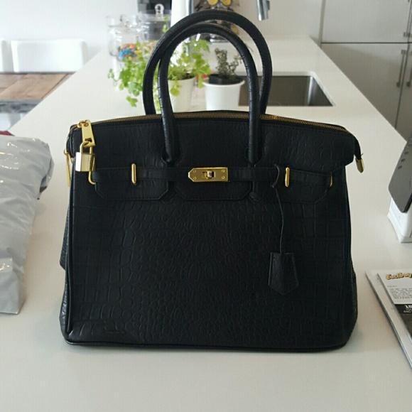 98% off designer Handbags - Black faux crocodile handbag with gold ...
