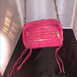 Rebecca Minkoff Hot Pink 5 Zip Cross Body Clutch