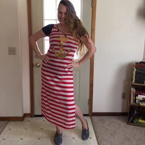 Red, white striped maxi gold sequin anchor