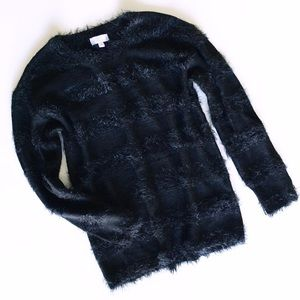black fringe sweater