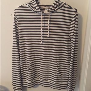 Navy blue and white striped hoodie