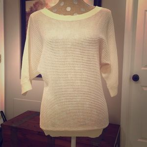 Express open knit kimono sleeve sweater in cream