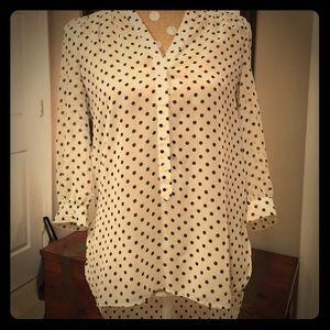 Lauren Conrad polka dot high low blouse