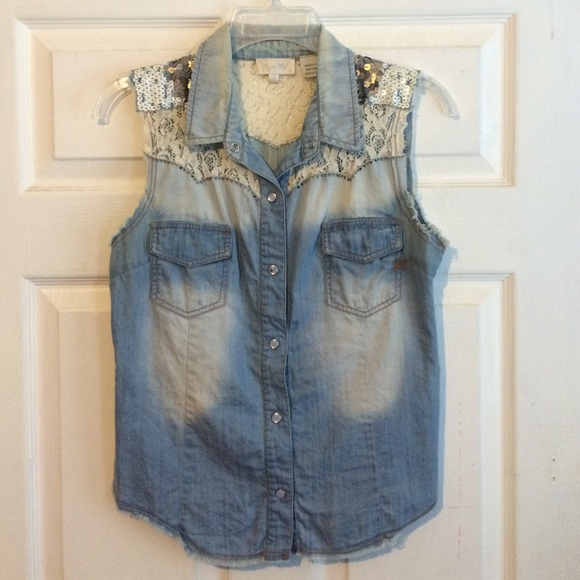 Miss Me Tops - Miss Me denim sequin button up