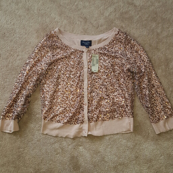 69% off American Eagle Outfitters Sweaters - Rose Gold Sequin ...