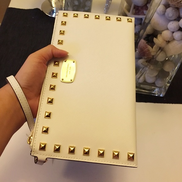 0026d9fa1ec63f Michael Kors Bags | Studded Zip Clutch Saffiano Leather | Poshmark