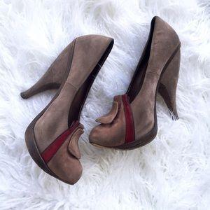 Marni clog style suede heels