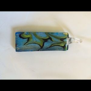 Rectangular art glass pendant in blue/green/black