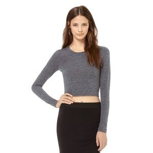 Wilfred Free Dewi Gray Cropped Long Sleeve Tee