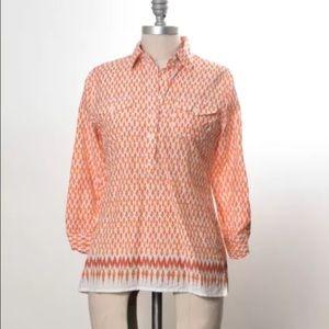 C. Wonder orange ikat print silk/cotton buttondown