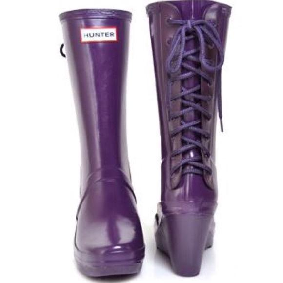ec0f26a21 Hunter Shoes | Verbier Lace Up Wedge Rain Boot | Poshmark