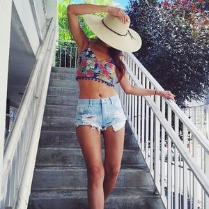 Tropical Pom Pom Crop Top
