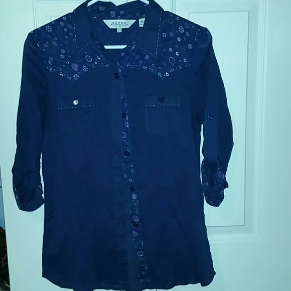 78 Off Roper Tops New Pics Added Navy Blue Button Up