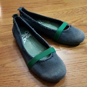 OTBT blue and green canvas slip ons