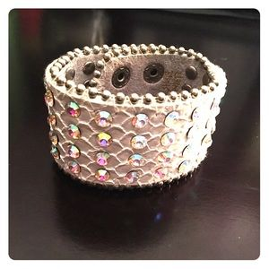 Jewelry - white rhinestone leather cuff bracelet