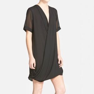 Topshop drape front tunic dress black
