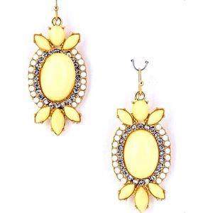 👂🏼Pale Yellow W/Bling Oval Statement Earrings