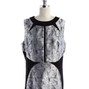 NWT black cracked shiny silver dress sleeveless