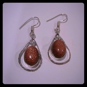 Handmade silver earrings with Goldstone