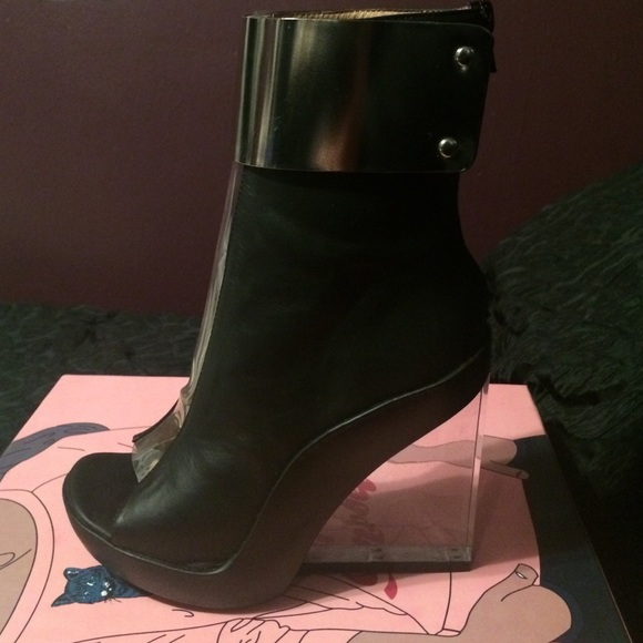 e009d0f6bc Jeffrey Campbell Shoes - Jeffery Campbell Roni-Mc Leather/Silver Cuff Wedge