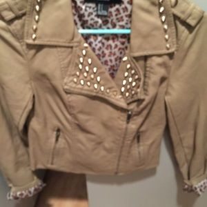Faux leather jacket with studs