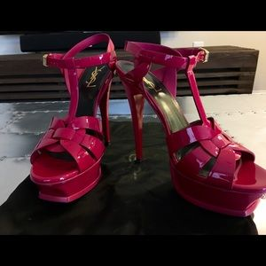 YSL CLASSIC TRIBUTE 105 SANDAL PINK PATENT LEATHER