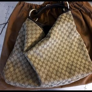 Gucci Canvas Leather Horsebit Large Hobo Bag