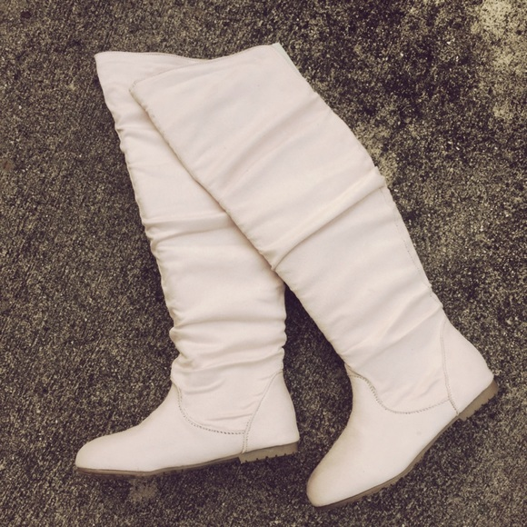 78e11c2eb22d Jessica Simpson Shoes | Cream Faux Suede Over The Knee Boots Sexy ...
