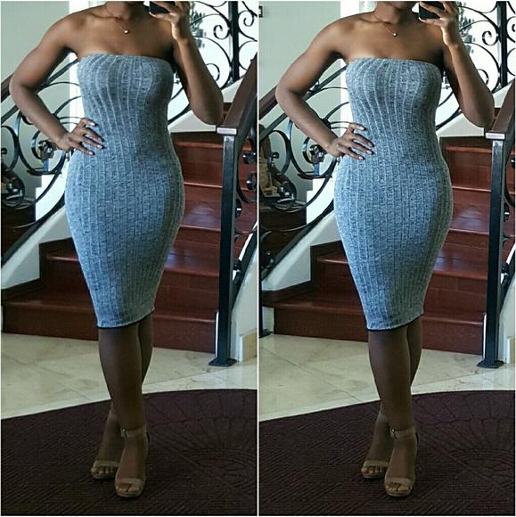 c539bf3376e Dresses   Skirts - Grey Sweater Tube Dress