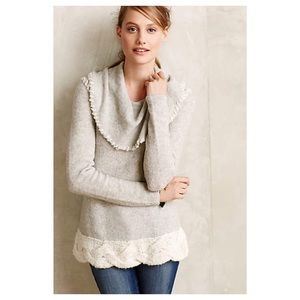Anthropologie Whipstitched Boucle Sweater