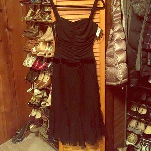 Vera Wang black flowy bottom dress.