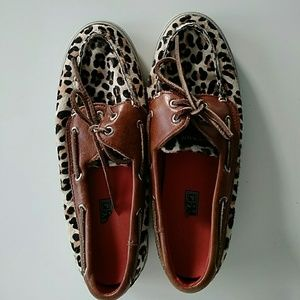 Sperry Top-Sider Shoes - Sperry Top-Siders Leopard Print Fur Boat Shoes