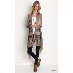 SALEMocha striped fringe long Cardigan